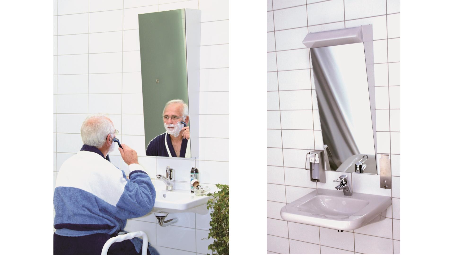 """Hilfsmittel-Ratgeber """"Kippspiegel für die Nutzung des Waschbeckens"""