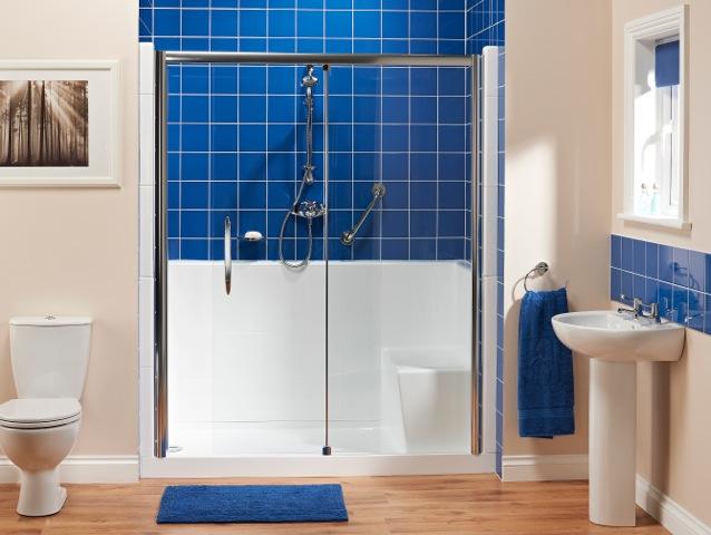 badewolke seniorendusche duschfix mit halbhoher. Black Bedroom Furniture Sets. Home Design Ideas